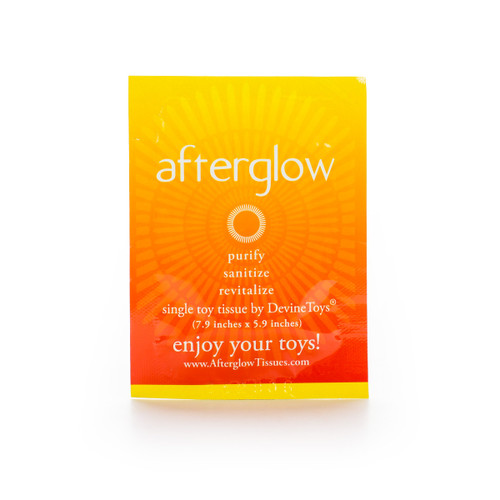 """An individual orange and yellow packet of Afterglow Toy Tissues. It reads """"A single toy tissue by DevineToys - 7.9 inches by 5.9 inches"""""""