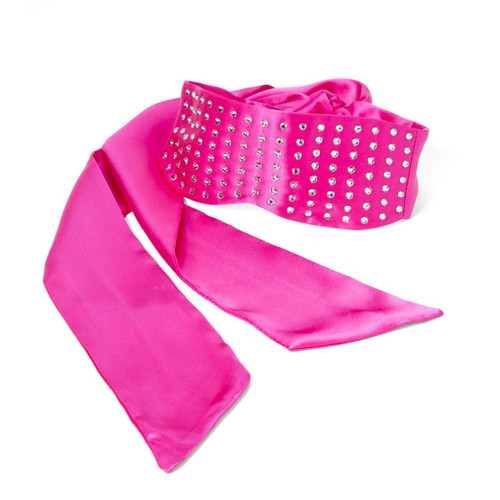 The pink satin rhinestone studded Camille mask coiled on a white background.
