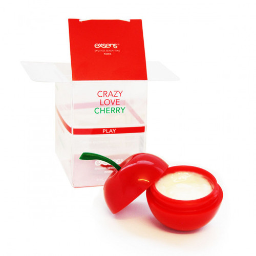 Front View of the Exsens Oh My Nipple Arousal Cherry with product and box on white background
