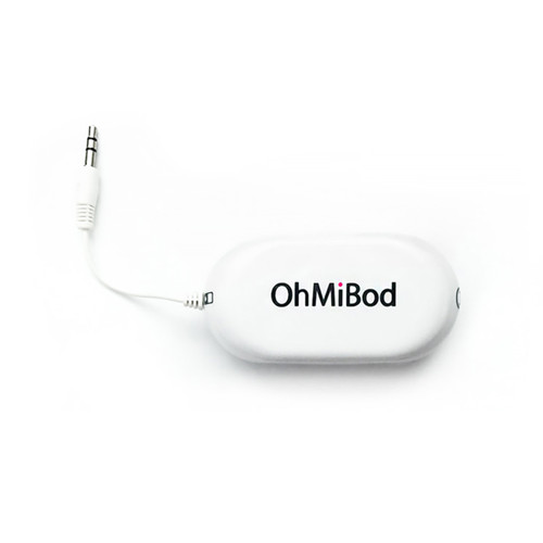 An image of a white transmitter with the OhMiBod logo and a short cable emerging from it with a post jack.