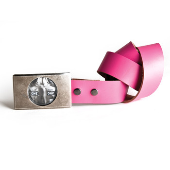 An image of the OhMiBod Lovebuckle pink belt with a buckle that contains a condom and a pink leather belt strap coiled to the right.