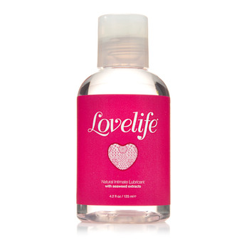 A clear plastic bottle of Lovelife natural intimate lubricant with a clear plastic cap and pink label on a white background.