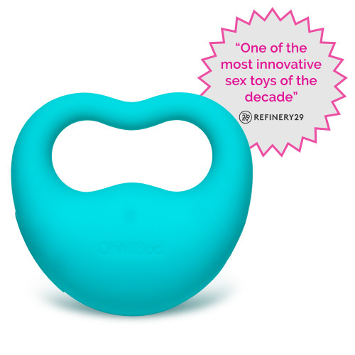 An image of the turquoise Lovelife Rev massager. It has an opening contoured to comfortably fit two fingers for easy grip on top, and the OhMiBod logo subtly embossed on the main mass of the massager