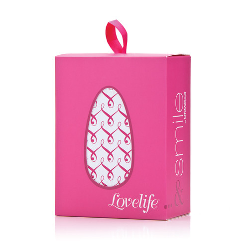 An image of the pink gift-ready Lovelife Smile box in its packaging sleeve. It stands on a white background.