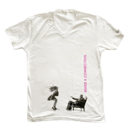 """An image of a white v-neck t-shirt with the ohmibod logo on the left sleeve and a black and white image from the BlueMotion Nex 1 box across the belly, with """"make a connection"""" in pink"""