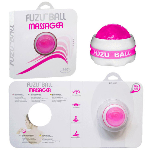 A series of images of the fuzu ball massager, its external packaging, and the interior open packaging.