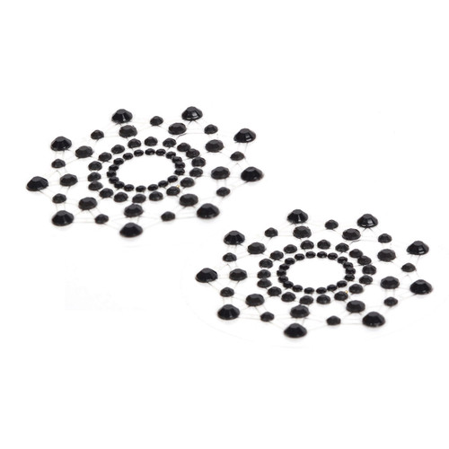 An image of a pair of black rhinestone nipple pasties in starburst shapes.