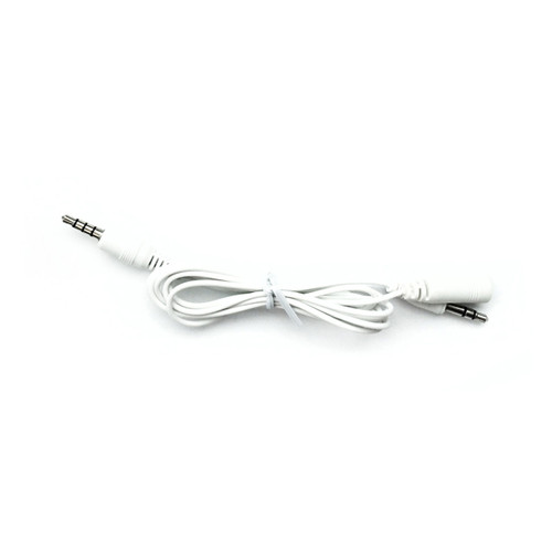 An image of a coiled white cable with two post jacks on a white background.