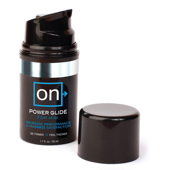 A container of ON powerglide for him with a pump cap lid. The bottle is black with blue and white accents on the label.