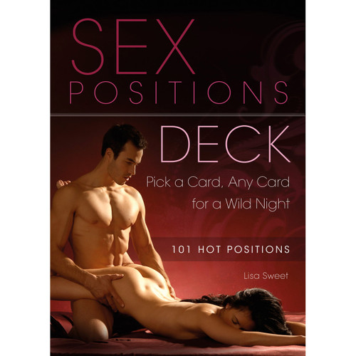 Sex Positions Deck with 101 hot positions - by Lisa Sweet. The cover image is of a man and woman being intimate on a dark red background.