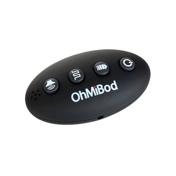 A black ovoid replacement remote for OhMiBod's Club Vibe massagers. It has four buttons for power and the three modes and the OhMiBod logo.
