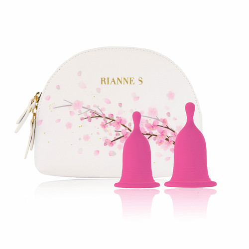 Front View of Rianne S Cherry Cups with cups and travel bag on a white background