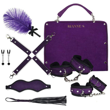 Front View of Rianne S Kinky Me Softly Purple Bondage Kit on White Background