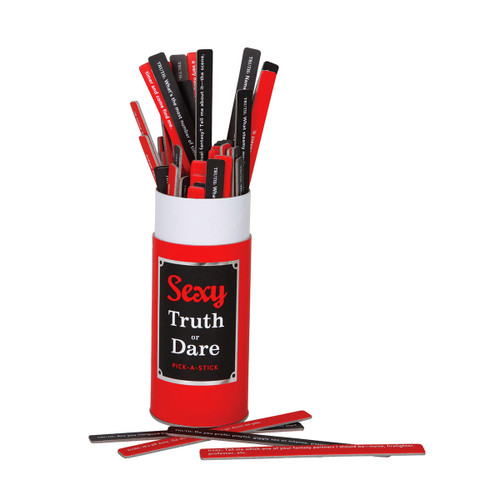 An image of a red, black and white tube containing numerous thin red and black cardboard sticks with white writing on them.