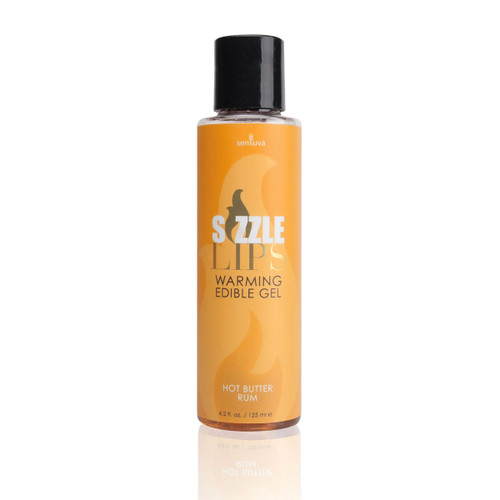 A tall thin 4.2 ox bottle of sliquid sizzle lips warming edible gel in hot butter rum. The label is orange.