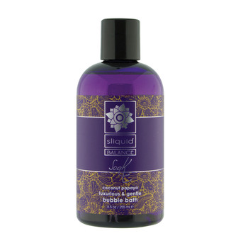An image of a purple 8.5oz bottle of Sliquid Balance Soak bubble bath with a black cap on a white background. The fragrance is coconut papaya.
