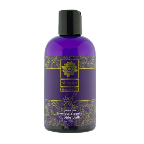 An image of a purple 8.5oz bottle of Sliquid Balance Soak bubble bath with a black cap on a white background. The fragrance is green tea.