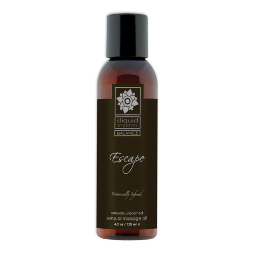 A brown 4.2 fluid ounce bottle of Escape massage oil by sliquid in unscented. The bottle has a black label.