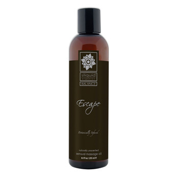 A tall brown 8.5 fluid ounce bottle of Escape massage oil by sliquid in unscented. The bottle has a black label.