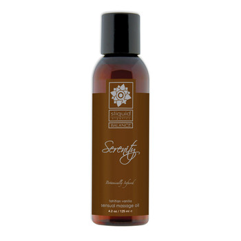 A brown 4.2 fluid ounce bottle of Serenity massage oil by sliquid in tahitian vanilla. The bottle has a brown label.