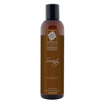 A tall brown 8.5 fluid ounce bottle of Serenity massage oil by sliquid in tahitian vanilla. The bottle has a brown label.