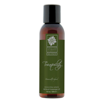 A brown 4.2 fluid ounce bottle of Tranquility massage oil by sliquid in coconut lime verbena. The bottle has a dark green label.