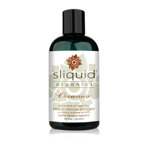 A dark teal 8.5 fluid ounce bottle of Sliquid Organics oceanics intimate lubricant with natural seaweed extracts on a white background.