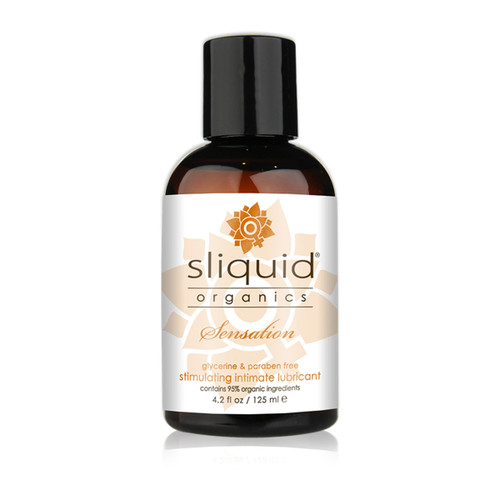 A dark brown 4.2 fluid ounce bottle of Sliquid Organics stimulating intimate lubricant on a white background.