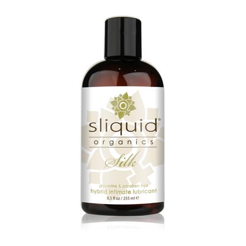 A dark brown 8.5 fluid ounce bottle of Sliquid Organics silk hybrid intimate lubricant on a white background.
