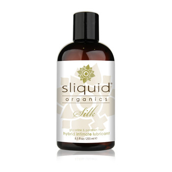 A dark brown 8.5 fluid ounce bottle of Sliquid Organics silk hybrid intimate lubricant on a white background.
