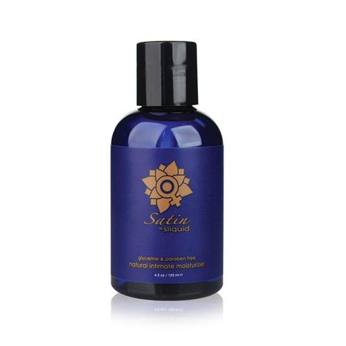 A dark blue bottle of Sliquid Satin natural intimate moisturizer. The bottle has a blue label and black cap.