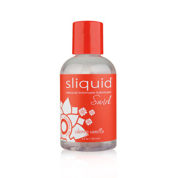 A clear plastic bottle of Sliquid Lubricant in cherry vanilla flavor. It has a red cap and label with white lettering.