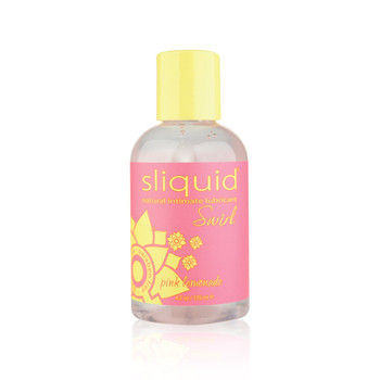 A clear plastic bottle of Sliquid Lubricant in pink lemonade flavor. It has a yellow cap and pink label with yellow lettering.