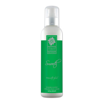 A tall clear 8.5 ounce bottle of Sliquid Smooth intimate shave cream in honeydew cucumber. The label is green and silver, and the bottle has a white and silver pump cap.