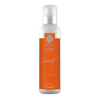 A tall clear 8.5 ounce bottle of Sliquid Smooth intimate shave cream in mango passion. The label is orange and silver, and the bottle has a white and silver pump cap.