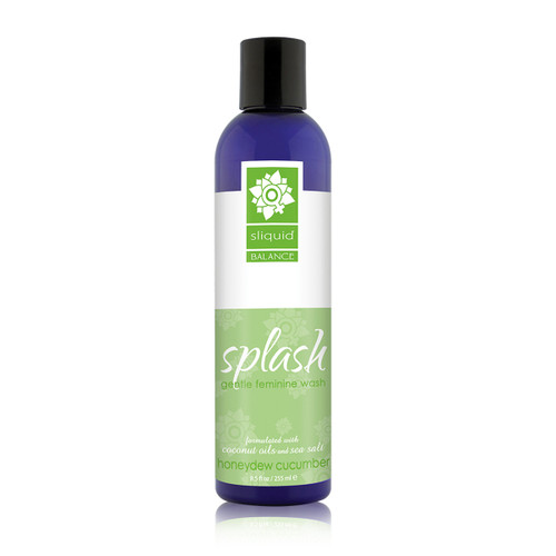 A tall dark blue 8.5 ounce bottle of Sliquid's Splash gentle feminine wash in honeydew cucumber. The label is white and green, and the bottle has a black cap.
