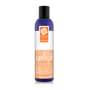 A tall dark blue 8.5 ounce bottle of Sliquid's Splash gentle feminine wash in mango passion. The label is white and orange, and the bottle has a black cap.