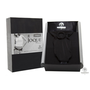 Packaging for the black joque strap on harness