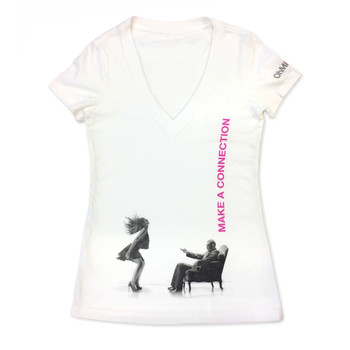 "An image of a white v-neck women's t-shirt with the ohmibod logo on the left sleeve and a black and white image from the BlueMotion Nex 1 box across the belly, with ""make a connection"" in pink"