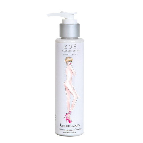 A pump-cap silver and white bottle of Zoe Massage Lotion in Sweet Cherie