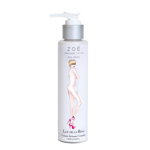 A pump-cap silver and white bottle of Zoe Massage Lotion in Wild Orchid