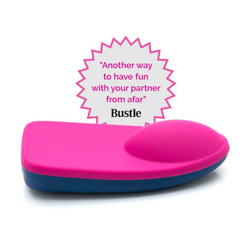 An image of the bluemotion Nex 1 slim line panty vibe. It is navy blue on bottom and pink on top. To the left is an Apple Watch and to the right are two smartphones all displaying the OhMiBod App.