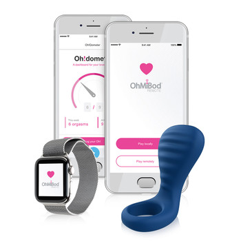 An image of the bluetooth enabled BlueMotion NEX3 couples ring alongside a smartphone and apple watch displaying the OhMiBod remote app